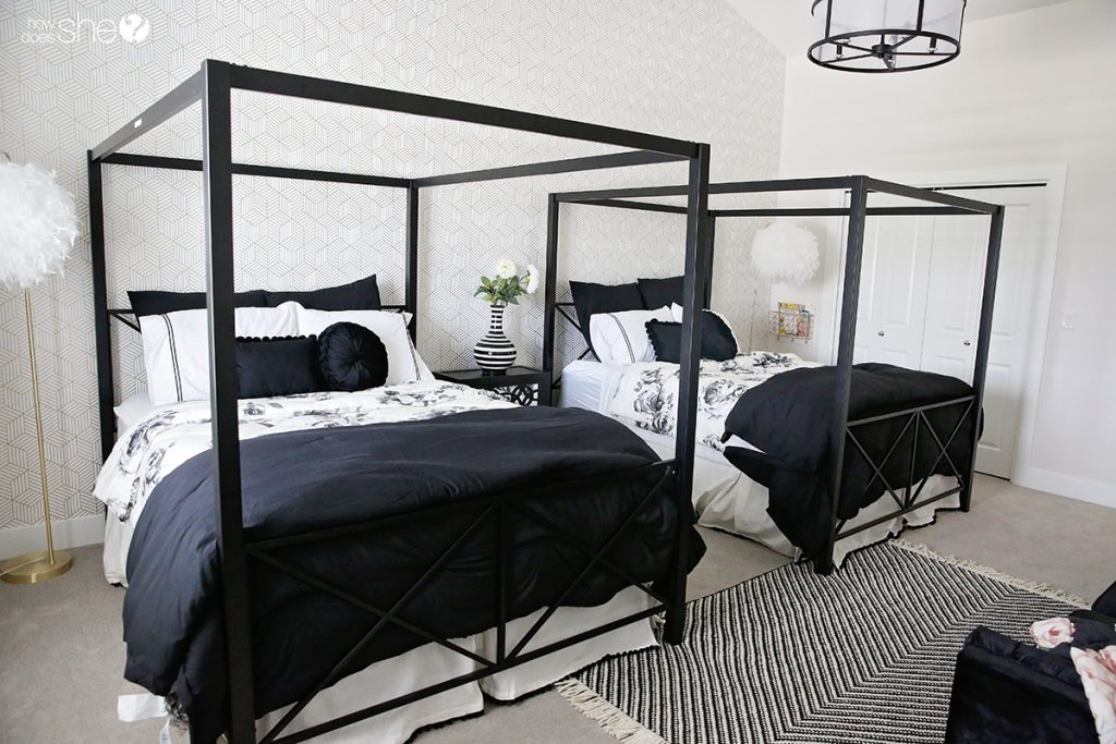 Tween Girl's Room Re-do with Classic Black, White, and Gold