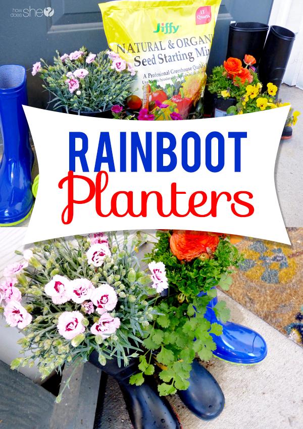 Super Cute Rainboot Planters!